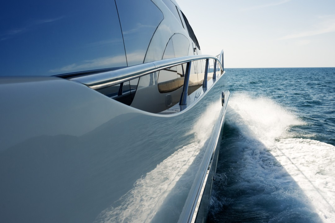 The starboard side of a yacht